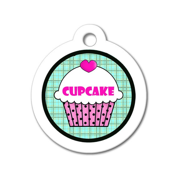 Cute Dog Tag - Pink Cupcake with Teal Pattern Background - Personalized Pet Tags, Custom Pet Tag, Dog ID Tags, Cat ID Tag, Dog Tags for Dogs