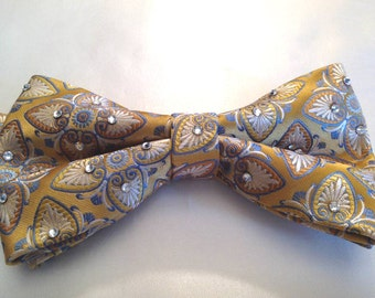 Golden Blue Bow Tie with clear rhinestones for men or women