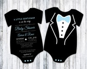 Tuxedo Onesie Baby Shower Invitation - Pick your Qty - 5x7 - Formal Baby Affair - Baby Blue - Bow Tie