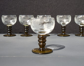 Austrian Etched Glass / Roemer / Romer / Cordial Glasses / Goblets