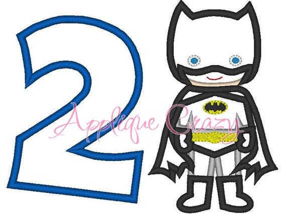 Batboy with the Number 2  Applique design