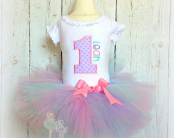 Birthday Number Tutu Set- 1st Birthday Outfit- Custom Embroidery- Pink, Purple, and Aqua Blue