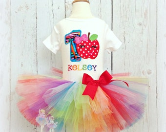 School Apple Birthday Tutu Outfit- 1st Birthday Set- Custom embroidery- 1st Day of School