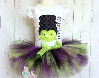 Frankenstein Bride Tutu Outfit- Halloween Costume- Purple, Black, and Green- 1st Halloween- Custom Embroidery