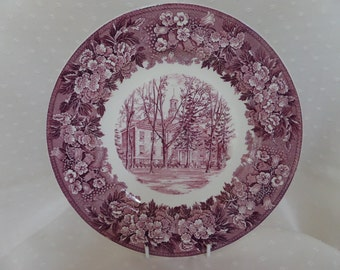 Wedgwood Collector's Plate -- Albion College Michigan -- Robinson Hall -- Purple Transfer
