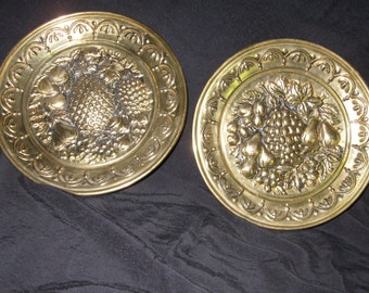Vintage set of two gold tone repousse fruit wall hanging plates