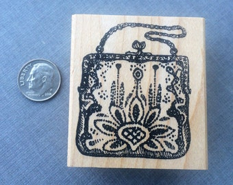 Victorian Beaded Purse Rubber Stamp