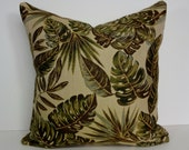 Chenille Fern and Leaves Pillow Cover, Decorative Pillow Cushion, Olive Green, Brown, Throw Pillow Cover, 18 x 18