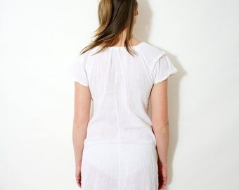 Vintage Off White Gauze Nightgown Antique Sheer Cotton Night Slip Dress Size Small