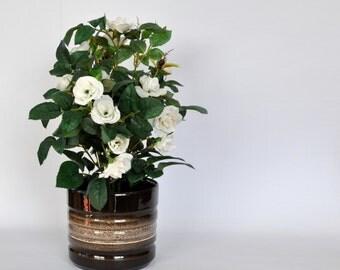 Brown retro planter | flower pot | fat lava