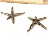 12pcs 43x45mm Antique Bronze Starfish Charms Pendant G408-4