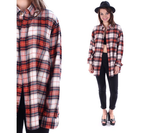 90s plaid shirt flannel shirt faded button up red black white for Red black and white flannel shirt