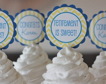 12 - Royal Blue & Yellow Chevron Stripes Retirement or Going Away Cupcake or 2 Cake Toppers - Party Pack Sales - Free Ship Over 65