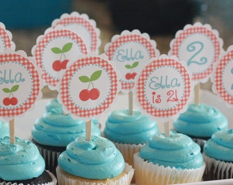 12 Cupcake Cherry Summer Picnic Party Red Gingham Turquoise Theme Birthday Cupcake or Cake Toppers- Ask About our Party Pack Sale