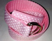 Children's, Toddlers, Baby Belt in Soft Pink with White Polka Dots