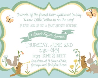 Baby Shower Invitation/Nature/GenderNeutral/Blue/Yellow/Tree/Rabbit/Squirrel