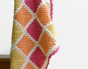 Crochet Baby Blanket - Handmade Granny Square Throw 100% Superwash Wool - Lemon, Tangerine and Watermelon