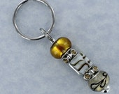 BEADED KEYRING with Bronze Gold and White Lampwork and Rhinestone Beads
