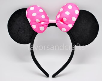 1 Minnie Mouse Headband, PINK Bows Minnie Mouse Ears, Minnie Ears, Mickey Mouse Headband, Mickey Ears, Polka Dots Favors Birthday