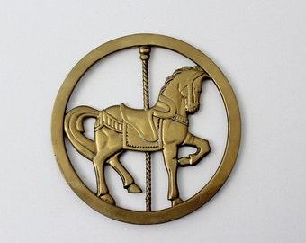 Vintage Brass Carousel Horse Trivet - Brass Horse Trivet Wall Hanging
