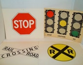 Lot of 4 Vintage Flashcard Street Signs