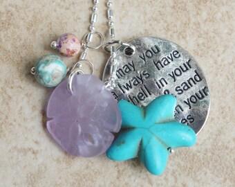 Charm Beach Necklace, Starfish Jewelry, sea glass Sand dollar, Ocean Jasper, Inarajewels