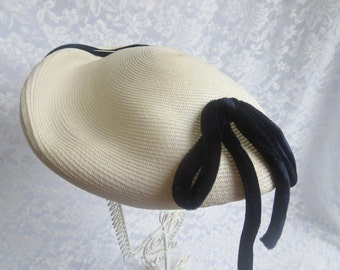 White Vintage Hat, Cream with Blue Velvet Trim, Hat