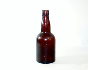 Glass Bottle Antique Brown Empty Vintage Amber Embossed Old Liebic Malt Extraction Co