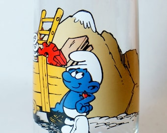 Smurf 1982 Hefty Glass Hardee Peyo Vintage Hardees Berrie Drinking Glasses Wallace Co Smurfs Promo Cup Collector Collectible