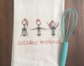 Holiday Workout Flour Sack Tea Towel