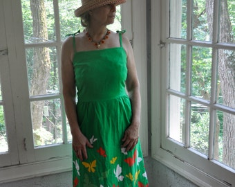 Hawaiian Butterfly Sun Dress/Vintage 1960s/Malia Cotton Dress With Built in Bra/Green White Yellow Orange/Size Small