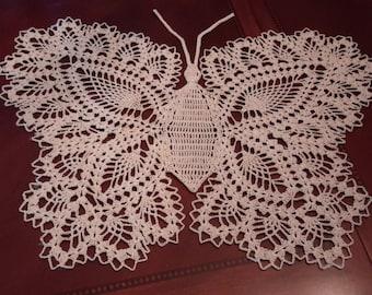 Gorgeous Crocheted Butterfly Doily Ecru