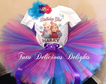 Frozen Birthday Tutu and Shirt, Frozen Party, Frozen Tutu, Elsa Tutu, Anna Tutu, Frozen Tutu Set, Kids Photo Props
