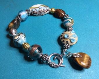 Sky Blue and Brown Chunky Bracelet