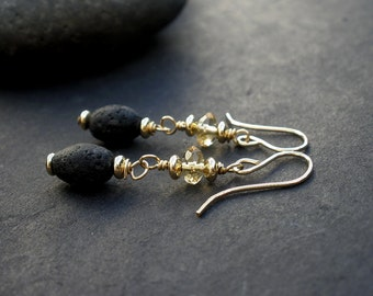 Citrine Faceted Rondelle - Natural Black Lava Barrel Shape - 14kt Yellow Gold Filled Wire Wrapped Dangle Earrings