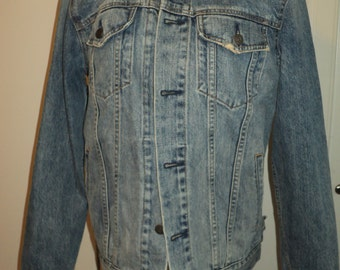"Vintage GAP BLUE JEAN Jacket with distressed edges and faded fabric made with the  ""Gap"" label  in Very Good Condition, A Timeless Classic"