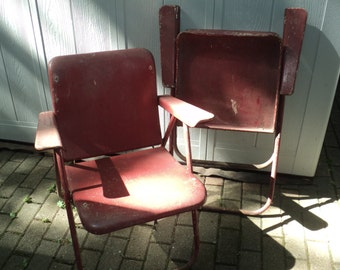 2 Retro Authentic Russell Wright Designed Metal Folding Chairs in original red  paint finish with well developed patina 4 Pick or Delivery