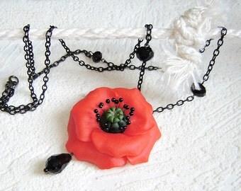 Red   poppy  flower pendant..