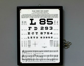 vintage optical Snellen eye chart near vision c. 1935-- hand held, doubled sided, vision test chart, wall decor, vintage optometry