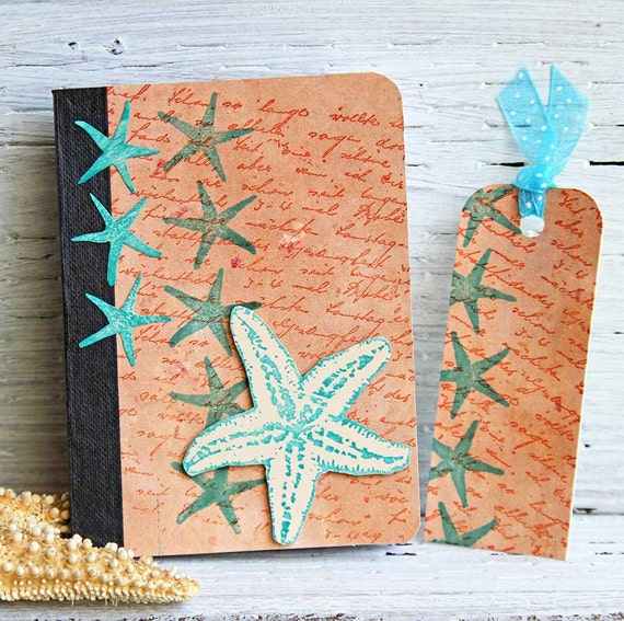 Starfish Mini Journal with Matching Bookmark, Handmade Pocket Notebook, Altered Composition Book, Ocean Inspired Vacation Planner