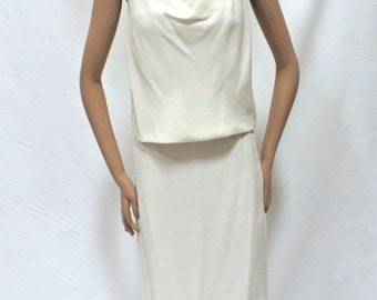 Mother of the Bride Vintage Off White Bride Skirt Suit Cowl Neck Blouse Below Knee Straight Wedding Skirt