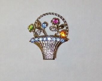 Vintage Flower Basket Brooch Pin Rhinestone Bouquet Jewelry Blue Pink Green Orange Stones