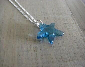 Swarovski Blue Starfish Pendant necklace sterling silver chain