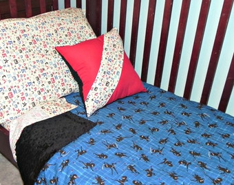 Toddler Boy Ninja Bedding - Free Accent Pillow with Purchase  - Minky Comforter, Toddler Sheet Set, Add-ons Available - READY TO SHIP