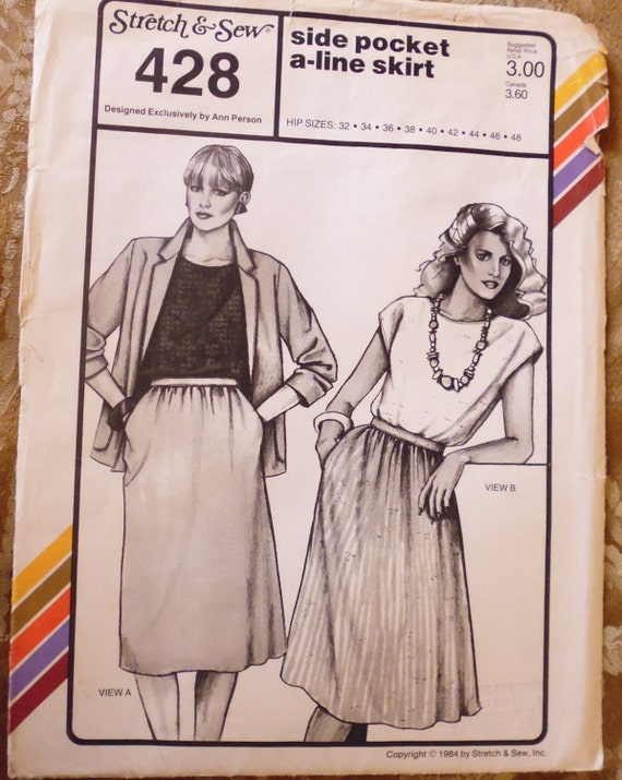 stretch and sew 428 a line skirt pattern side pocket skirt