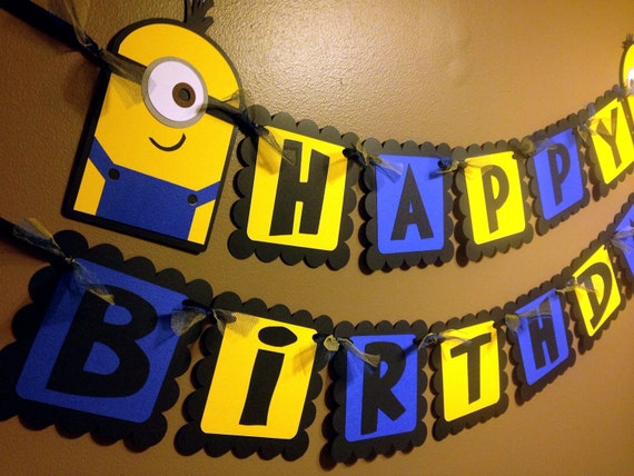 Minion Despicable Me Inspired Happy Birthday Banner