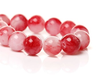 33 Mashan Jade Beads - 12mm - Pink and Red - 1 Strand - Ships IMMEDIATELY From California - B1193