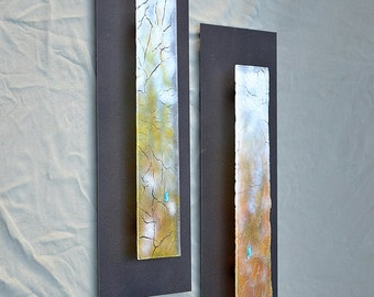 "Fall - Fused Glass Crackle mounted on Steel 23""x9"""