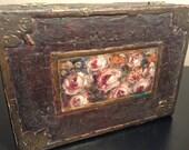 Vintage hand painted and textured folk art box trinket box