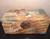 Vintage Chinese hand painted hide covered box leather box